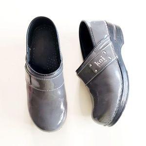 Koi by Sanita Gray Patent Leather Heeled Clogs 36